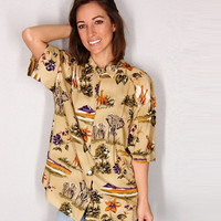 Tropical Safari Shirt, Bright Tropical Exotic Blouse, Elephant Giraffe Volcano XS Small Medium