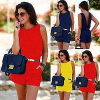 Fashion Women Casual Summer O Neck Backless Sleeveless  Playsuit Party Jumpsuit