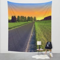 Country road into surreal sundown | landscape photography Wall Tapestry by Patrick Jobst | Society6