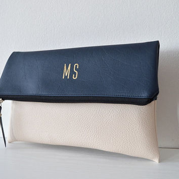 Two - tone personalized clutch / Foldover monogrammed clutch purse / Evening purse / Bridal clutch bag / Bridesmaids gift