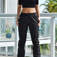Fold leather trousers casual pants