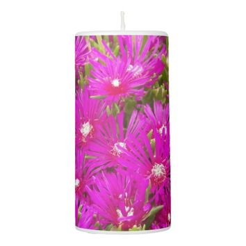 Pink Ice Flowers Floral Pillar Candle