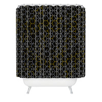 Caleb Troy Black And Yellow Beehive Shower Curtain