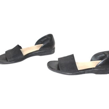 size 9 black D'ORSAY sandals vintage early 90s MINIMALIST slip on ELASTIC strap barefoot sandals