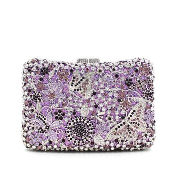Women Butterfly Rhinestone Minaudiere Purses Clutches