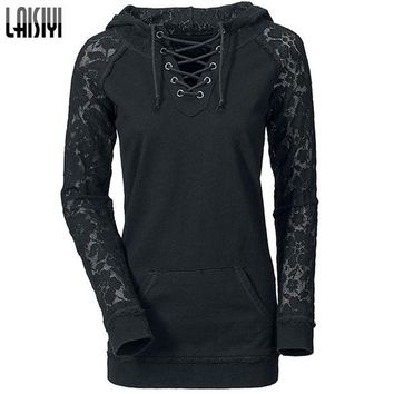 DCCKHY9 Laisiyi Free Shipping 2016 European American Hoodies Women Lace Patchwork Drawstring Black Sweatshirt HO1093
