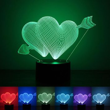 Valentines day Gift 3D Lamp LED Night Light 7 Colors Table Bulb Touch Sensor