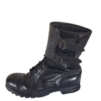 Black Combat Boot Cyber Goth Military Boot Army Boot Cybergoth Work Boot Punk Boot Gothic Boot 90s Goth Boot Black Lace Up Leather Boot
