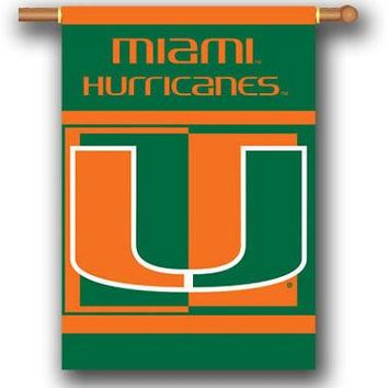 Miami Hurricanes 28x40 2-sided Outdoor House Banner Flag Football University of