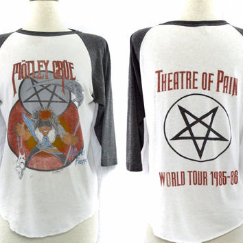 Vintage 80s MOTLEY CRUE Theater of Pain Allister Fiend Raglan 3/4 Sleeve Jersey 50/50 T Shirt Sz L
