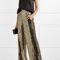 Alice + Olivia - Racquel sequined satin wide-leg pants