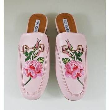 CR Pink Almond Toe Flats Mules Clog Embroidered Rose Design Slippers