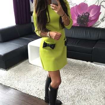 Casual Three Fourth Sleeve Bow Pocket Design Bodycon Mini Dress
