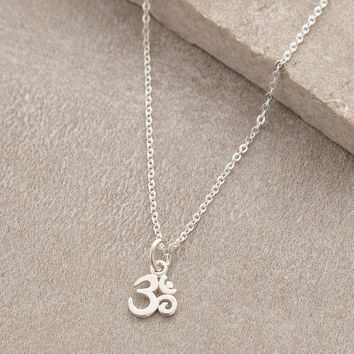 Delicate Sterling Silver Om Necklace