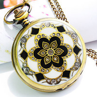Pocket Watch Retro Style Necklace Locket Pendant Chain Painted Flower Cover (PWAT0107)