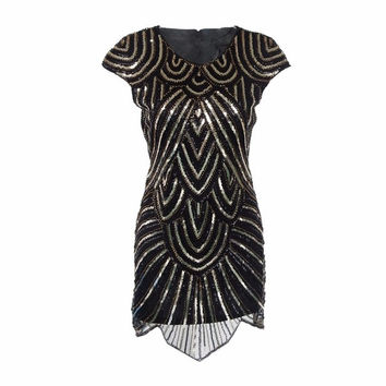 New black gatsby round neck 20's vintage flapper charleston beading and gold sequin party embroidery dress UK 4-16 H007