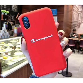Champion tide brand couple iphonexs mobile phone case cover Red
