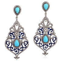 Turquoise Pave Diamond 18kt Gold Sterling Silver Dangle Earrings