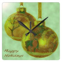 Holiday Golden Ornaments Square Wall Clock