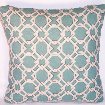 "Aqua Basket Weave Throw Pillow 17"" Square Lacefield Linen Caning Geometric Lattice Trellis Insert Included Ready Ship Teal Blue Tan"