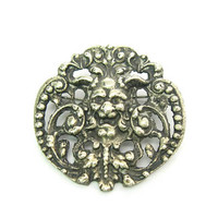 Gothic Green Man Brooch Ornate Baroque Silver Horned Devil w/ Leaves God of the Woods Faunus Pan Vintage Roman Satyr Statement Jewelry