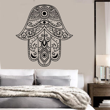 Vinyl Wall Decal Hamsa Hand of God Eye Talisman Bedroom Decor Stickers (ig3553)