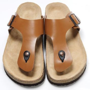 Birkenstock Leather Cork Flats Shoes Women Men Casual Sandals Shoes Soft Footbed Slippers-173