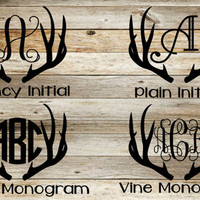 Antler Monogram Decal, Deer monogram decal, deer car decal, antler car decal, deer, antler, Yeti decal, personalized, antler sticker,hunting
