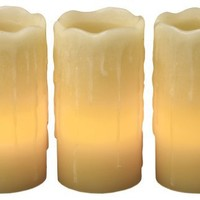 """Everlasting Glow LED Wax Candles With Drip Effect, Ivory, Set of 3, 4"""" x 2"""""""
