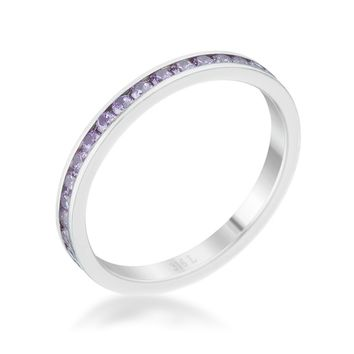 Teresa Lavender Silver Eternity Stackable Ring | 1ct | Cubic Zirconia | Stainless Steel