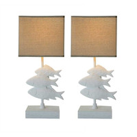 Waterside Collection Fish Lamp with Burlap Shade - Set of 2