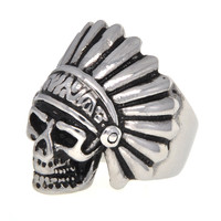 Dear Deer Stainless Steel Vintage Indiana Skull Crossbone Ring