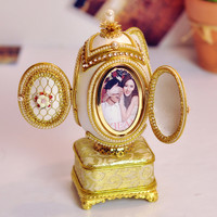WR Eggshell Carving Mini Music Box Photo Frame Musical Boxes Ring Box Wedding Princess Love Girls Valentine's Day Gifts