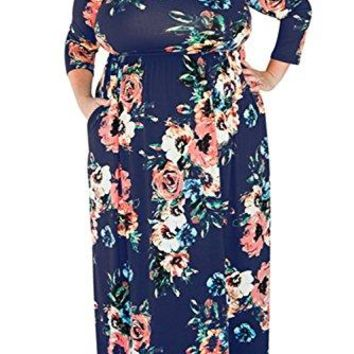 Plus Size Floor-length Maxi Dress Floral Print Three Quarter Sleeve with Pockets