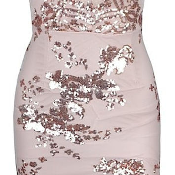 Simmy Floral Sequin Embroidered Mini Dress - Pastel Pink
