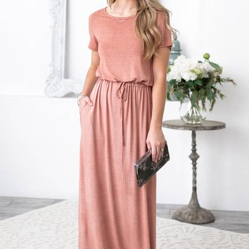 Blush Waist Tie Maxi Dress