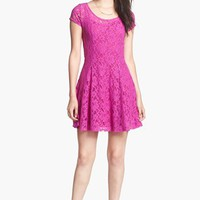 Minty Cap Sleeve Lace Skater Dress (Juniors) | Nordstrom