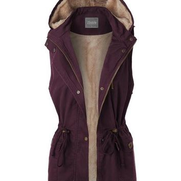 Anorak Fur Lined Hooded Vest Burgundy