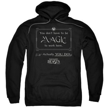 Fantastic Beasts - Magic To Work Here Adult Pull Over Hoodie Officially Licensed Apparel