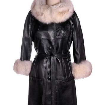 Vintage Black Leather Ladies Coat w White Fox Trim 1960s