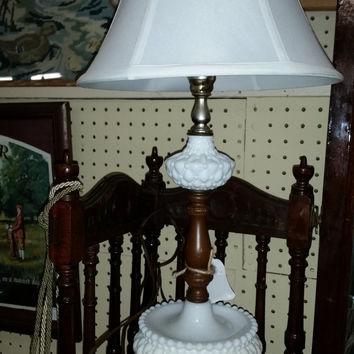 Hobnail Quilted Milk Glass Lamp