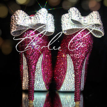 """CHARLIE CO. Pretty In Pink 5"""" Crystal Strass Clear Bow Peep Toe Platform Heels Hot Pink Silver Bridal Prom Wedding Evening Occasion Shoes"""