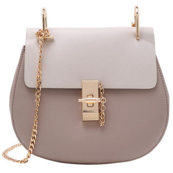Designer Inspired Contrast Faux Leather Gold Chain Saddle Buckle Bag
