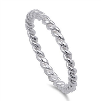 925 Sterling Silver Twisted Wire Rope Ring 2MM