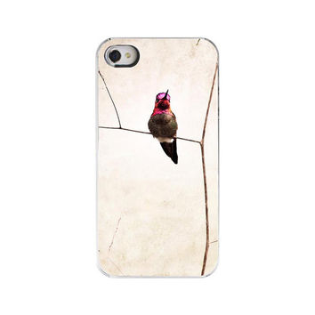 Hummingbird IphoneCase-Bird Iphone Cover, Iphone 4s Summer Phone Case, Neutral Beige Decorative Iphpne Case
