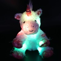30cm/40cm LED Lumious Stuffed Unicorn  with Heavenly White Plush Toys Colorful Flashing LED Night Light  YZT0257