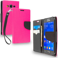 Hot Pink / Black Wallet Flip Pouch TPU Case Cover for Samsung Galaxy Core Prime G360P
