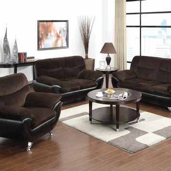 Acme 51275 2 pc wilona collection modern style two tone chocolate champion fabric and black bonded leather upholstered sofa and love seat set