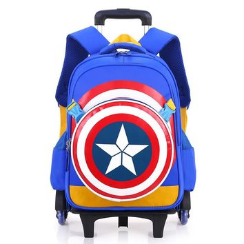 Captain America Children School Bags Backpack With Wheel Luggage