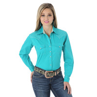 Wrangler Women's The Ultimate Riding Shirt Long Performance Sleeves Solid Shirt Turquoise